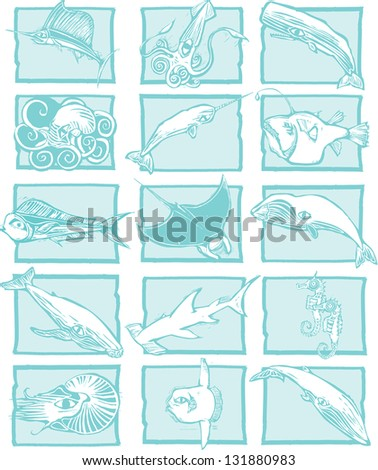 Sea Life grouping of fish, sharks and whales. - stock photo