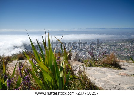 Sea Mist over Cape Town, South Africa - stock photo