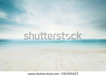 Sea morning beach. Tropical composition - stock photo