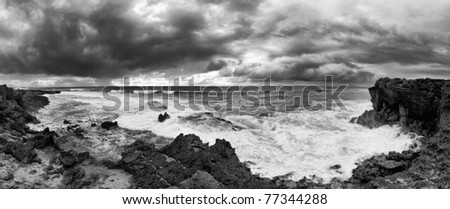 sea ocean wave clouds seascape panorama black & white - stock photo