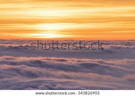 Sea of Clouds at Mt.Fuji during sunrise. - stock photo