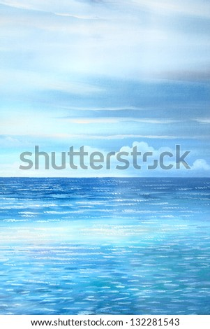 sea : oil color painting - stock photo
