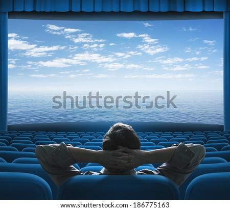 sea or ocean on cinema screen - stock photo