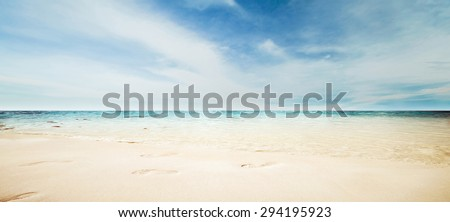 Sea panorama. Summer tropical beach - stock photo