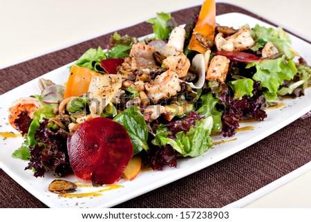 sea salad on dish - stock photo
