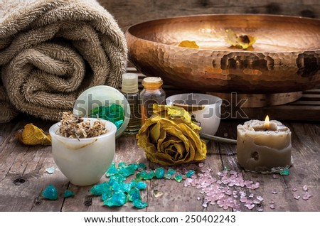 sea salt and accessories for a rejuvenating Spa sessions - stock photo