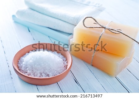 sea salt and soap - stock photo