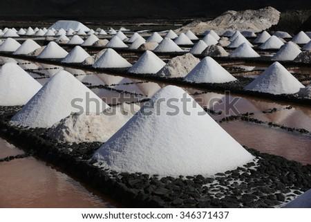 Sea salt harvesting - stock photo