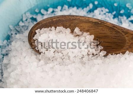sea salt in blue bowl - stock photo