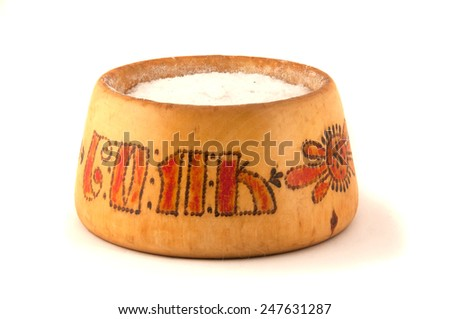 sea salt in wooden bowl - stock photo