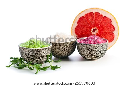 Sea salt isolated on a white background - stock photo