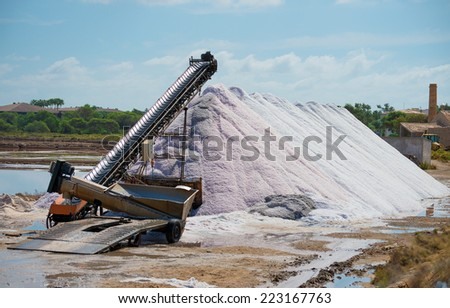 Sea salt production. The conveyor belt with salt. - stock photo
