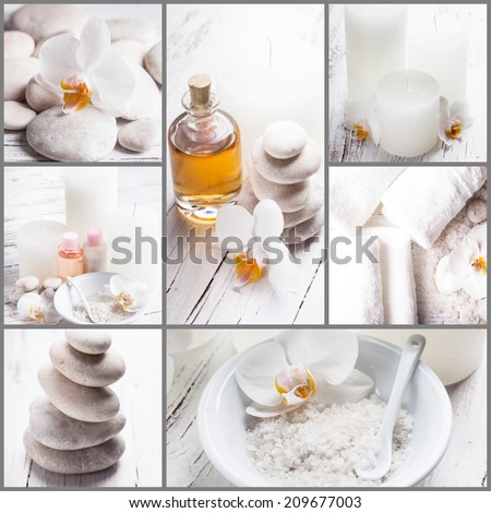 Sea salt, rebbles with orchids, essential oil and white towels, spa concept collage - stock photo
