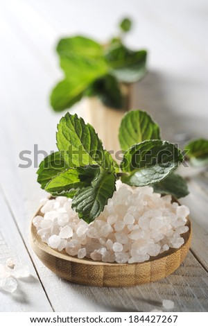 sea salt with mint on a white  wooden table - stock photo