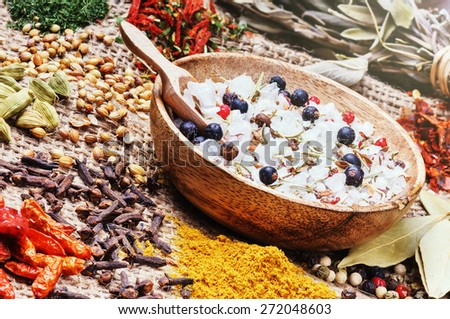 Sea salt with mix of various spices - stock photo