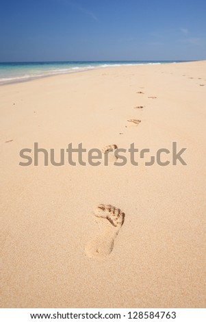 Sea sand sun beach for relax in holiday Thailand trail track spoor - stock photo