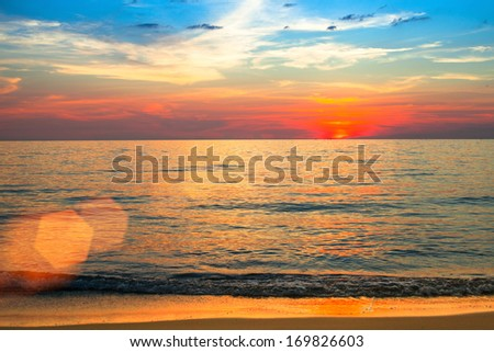 Sea scape scene in the Ocean, beach ocean sunset landscape. - stock photo