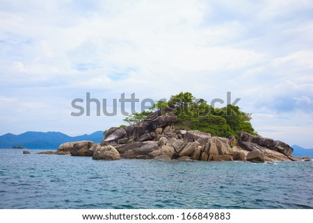 Sea Scene Rock Island in Lipe island in Satun Thailand Sea Scene Rock Island in Lipe island in Satun Thailand  - stock photo