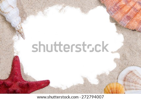 Sea shells and red starfish on sand around white space - stock photo