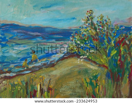 Sea shore art painting - background or card - stock photo