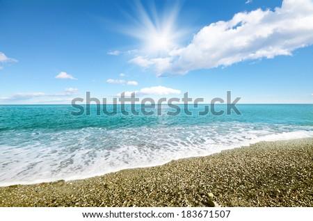 Sea shore at summer sunny day - stock photo