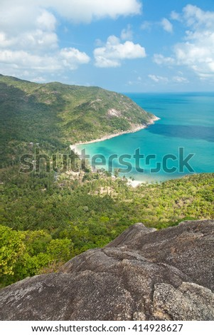 sea shore, green jungle and turquoise water. View from above. Beautiful natural background - stock photo