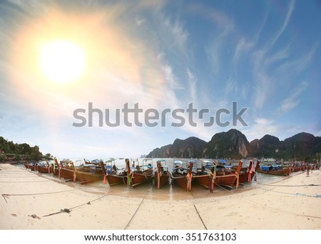 sea sky mountain thailand boats - stock photo