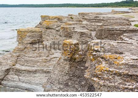 Sea stacks at sea shore - stock photo