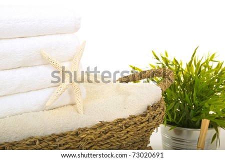 sea star on fresh washed towels into a straw basket - stock photo