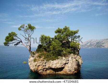 Sea stone in adriatic sea - stock photo