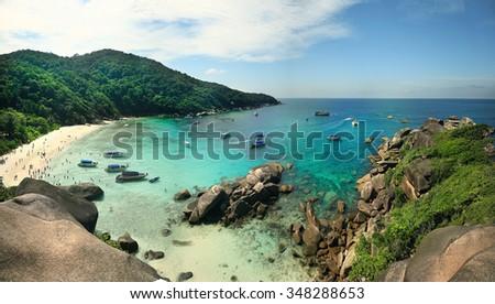 Sea stones summer panorama - stock photo
