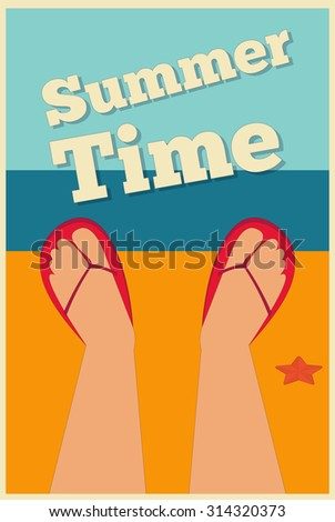Sea Summer Holidays Poster.  - stock photo