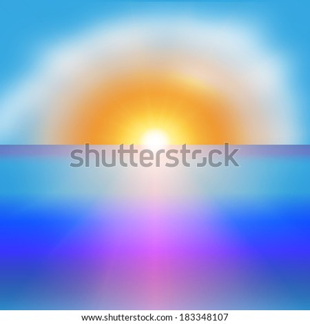 Sea sunrise with a bright sun background Illustration - stock photo