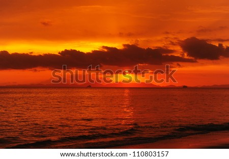 Sea Sunset Background - stock photo