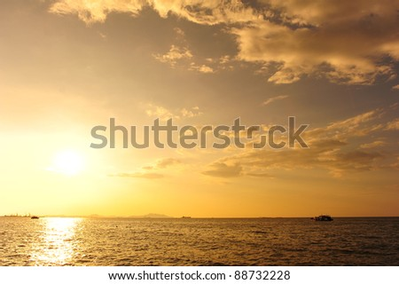 Sea Sunset Background - stock photo