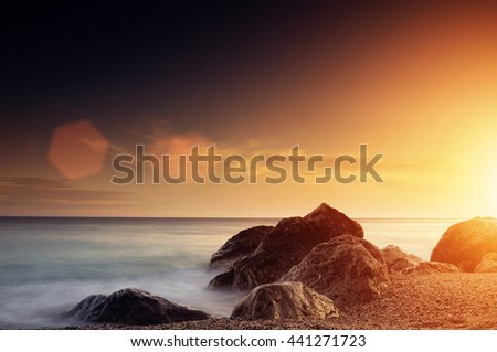 Sea Sunset in Foros (Ukraine, Crimea - 2016) - stock photo