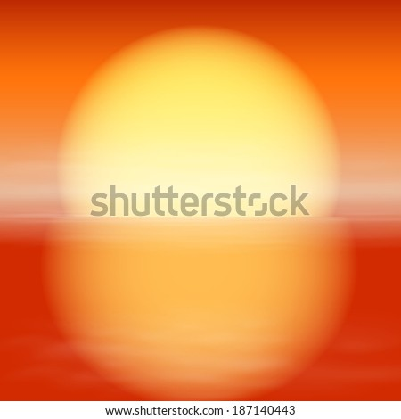 Sea sunset. Sun with reflection on water. Raster version. - stock photo