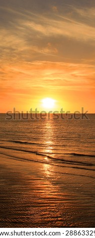 Sea sunset. Vertical panoramic composition. - stock photo