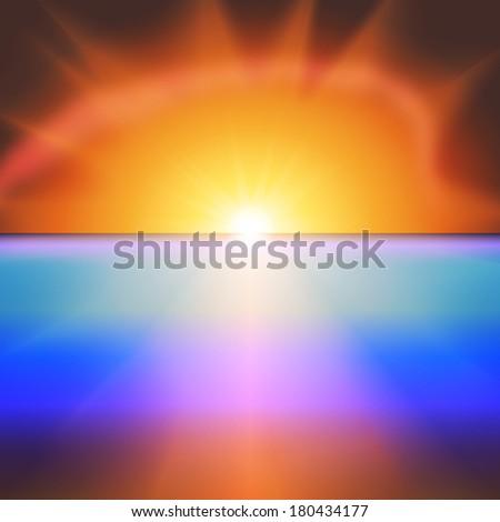Sea sunset with bright sun background illustration - stock photo