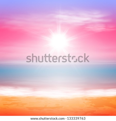 Sea sunset with bright sun. Raster version of the loaded vector. - stock photo