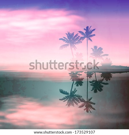 Sea sunset with island and palm trees. Retro style with old textured paper. Raster version. - stock photo
