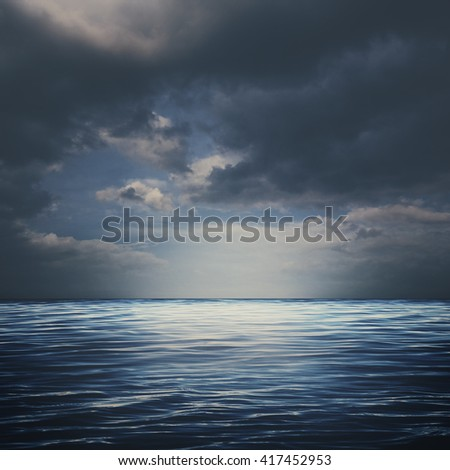 Sea surface under stormy skies, abstract natural backgrounds - stock photo
