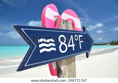 SEA TEMPERATURE  beach sign - stock photo