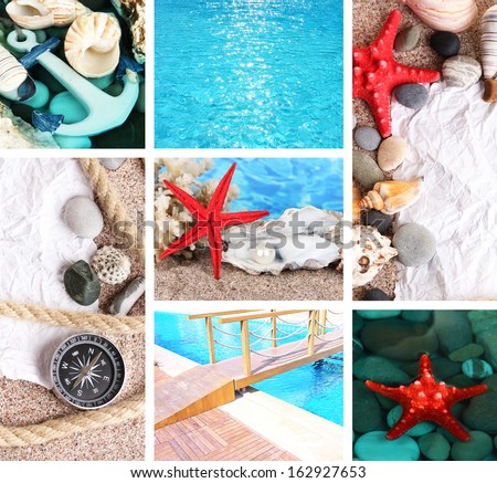 Sea theme collage - stock photo