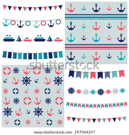 sea theme garland and patterns. Raster version - stock photo