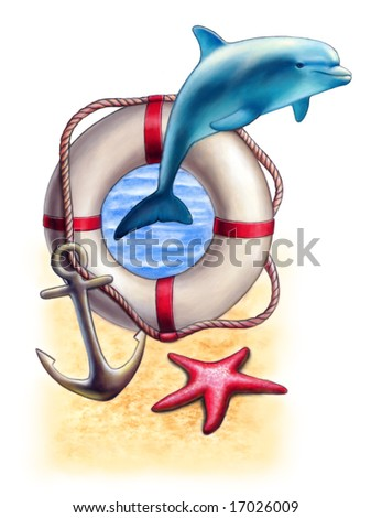 Sea themed composition including a dolphin and a starfish. Mixed media illustration. - stock photo