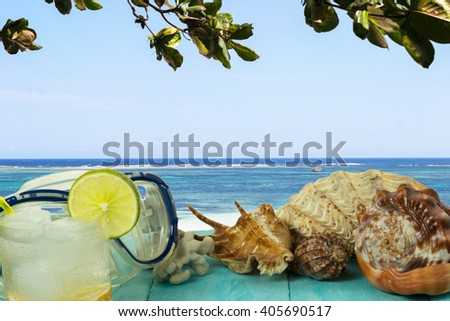 Sea view and beach cocktail. Beach drink. Tropical relax. Beach cocktail. Beach party. - stock photo