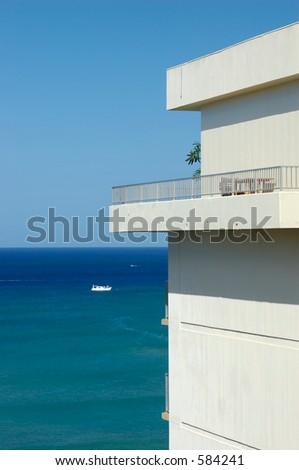 sea view apartment overlooking Waikiki - stock photo