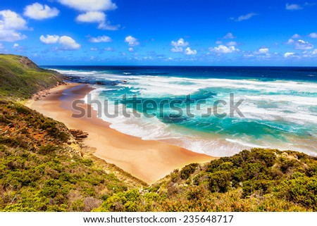Sea view from Great Ocean Road in Australia - stock photo
