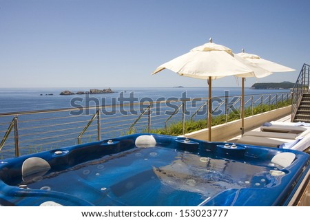 Sea view from jacuzzi on hotel terrace in Dubrovnik, Croatia - stock photo